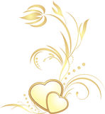 Golden hearts with decorative sprig Royalty Free Stock Photo