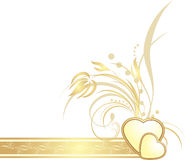 Golden hearts with decorative sprig on the ribbon Royalty Free Stock Photos