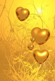 Golden Hearts Flourish Background Royalty Free Stock Image