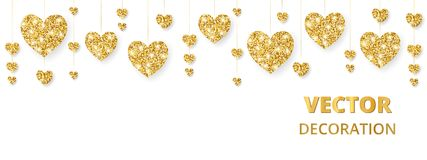 Golden hearts frame, border. Vector glitter isolated on white. For decoration of Valentine and Mothers day cards. Golden hearts frame, border. Vector glitter Stock Photo