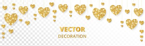 Golden hearts frame, border. Vector glitter isolated on white. For Valentine and Mothers day cards, wedding invitations. Golden hearts frame, border. Vector Stock Photos