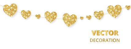 Golden hearts frame, seamless border. Vector glitter isolated on white. For decoration of Valentine and Mothers day. Golden hearts garland, seamless border Royalty Free Stock Photo