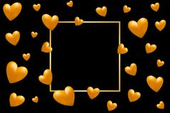 Golden hearts and golden frame with space for text. Valentines, Wedding, Greeting Card. Valentine`s day card. Golden hearts and golden frame with space for text Stock Photo