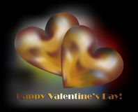 Golden hearts and happy valentine's day Royalty Free Stock Photos