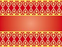 Golden hearts ornament. On red background. Vector graphic perfect to use as a border, label, texture or background Royalty Free Stock Image
