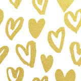 Golden hearts pattern glitter Valentine day white background Stock Image