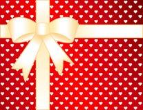 Golden Hearts Present Stock Image