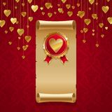 Golden hearts on red Royalty Free Stock Photo