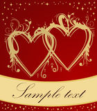 Golden hearts on red background Stock Image