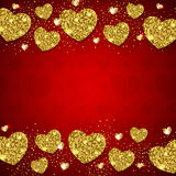 Golden hearts on a red background Royalty Free Stock Image