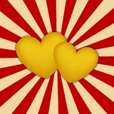 Golden hearts Stock Image