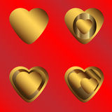 Golden hearts on a red background symbols Stock Photos