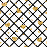 Golden hearts rhombus seamless pattern Royalty Free Stock Photography