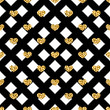 Golden hearts rhombus seamless pattern Stock Photography