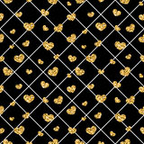 Golden hearts rhombus seamless pattern Royalty Free Stock Photo