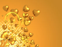 Golden Hearts Ribbon Bow Background Royalty Free Stock Photography