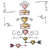 Golden hearts, rose gold heart collection of hand drawn vintage swirl ornaments. Valentine`s day design elements. Valentine`s royalty free illustration