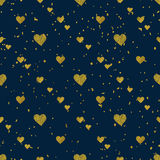 Golden  hearts seamless pattern Royalty Free Stock Photo