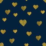 Golden  hearts seamless pattern Stock Photo