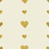 Golden  hearts seamless pattern Stock Image