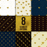 Golden  hearts seamless pattern set Royalty Free Stock Photos