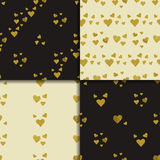 Golden  hearts seamless pattern set Royalty Free Stock Photography