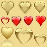 Golden Hearts Set Royalty Free Stock Image