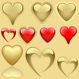 Golden Hearts Set stock illustration