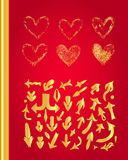 Golden hearts set Royalty Free Stock Photography