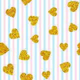 Golden hearts on striped background. Seamless pattern with golden hearts on striped background Stock Photo