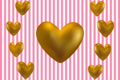 Golden hearts on a pink background. Golden hearts on a striped background. Vector illustration EPS10 for Valentines Day card Stock Images