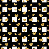 Golden hearts stripes seamless pattern Stock Image