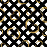 Golden hearts stripes seamless pattern Royalty Free Stock Photo
