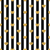 Golden hearts stripes seamless pattern Royalty Free Stock Photography