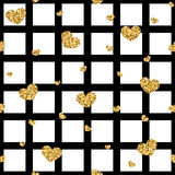 Golden hearts stripes seamless pattern. Gold glitter and black template. Abstract texture. Retro Valentine day design for card, wallpaper, wrapping, textile Stock Photos