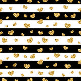 Golden hearts stripes seamless pattern Stock Image
