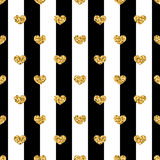 Golden hearts stripes seamless pattern Stock Images