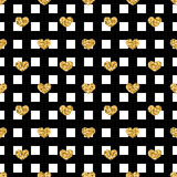 Golden hearts stripes seamless pattern Stock Photos
