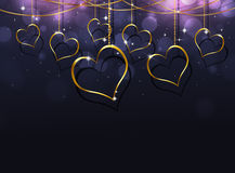 Golden Hearts Valentine Card Stock Photo