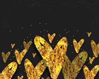 Golden Hearts for Valentine`s Day celebration. Golden Glittering Hearts decorated background for Happy Valentine`s Day celebration or Love concept. Can be used Stock Photography