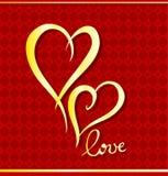 Golden hearts. Stock Photo