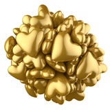 Golden hearts on white background Royalty Free Stock Photo