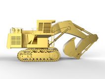 Golden heavy duty bulldozer. 3D render illustration of a golden heavy duty bulldozer. The object is isolated on a white background with shadows Royalty Free Stock Images