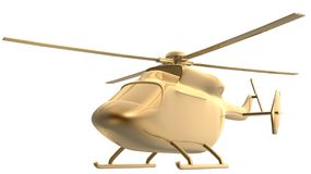Golden helicopter. 3d golden helicopter stay on white background Royalty Free Stock Image