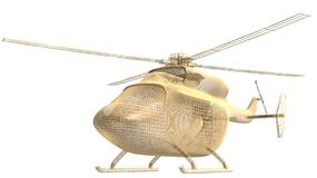 Golden helicopter frame. 3d golden helicopter frame stay on white background Royalty Free Stock Images