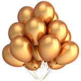 Golden helium balloons (Hi-Res). Bunch of golden helium balloons. Beautiful party decoration. This is a detailed 3D render.  Isolated on white Stock Photography