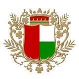 Golden heraldic shield Royalty Free Stock Photo