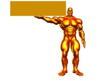 Golden Hercules With Sign. Hercules very muscled holding a blank sign Stock Photos