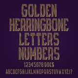 Golden herringbone letters, numbers, dollar and euro currency signs, exclamation and question marks.  stock illustration