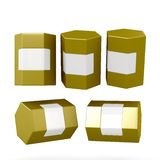 Golden hexagon box packaging with clipping path Royalty Free Stock Photo